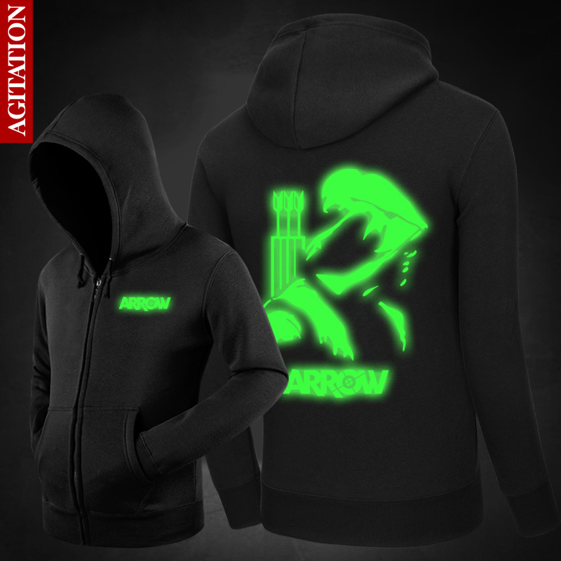 3M Reflective Green Arrow Men Jacket Brand-Clothing Fashion Male Coat Casual Baseball Jacket With Zipper Hooded Chaqueta Hombre