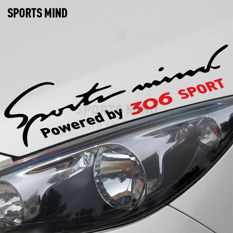 2 Pieces Sports Mind Car Styling On Car Lamp Eyebrow automobiles exterior accessories Car Sticker For Peugeot 306 accessories