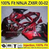 8Gifts Injection mold Body For KAWASAKI NINJA ZX 6R 00 02 INJ336 ZX 6R ZX6R 00 01 02 ZX636 636 2000 2001 2002 Fairing red black