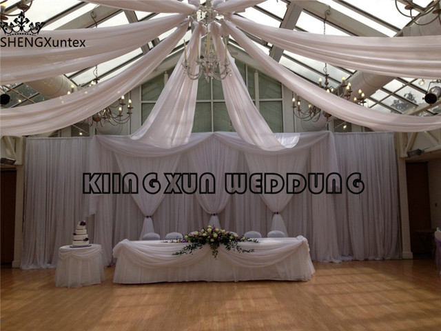 wholesale price new design white wedding backdrop curtain for