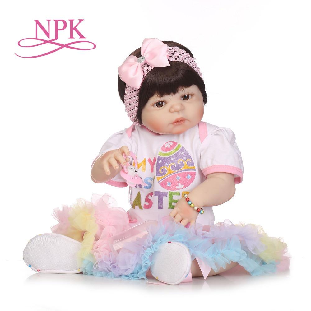NPK silicone full body reborn dolls realistic handmade baby dolls girl fashion kids toy Waterproof Boneca Model Birthday Gifts