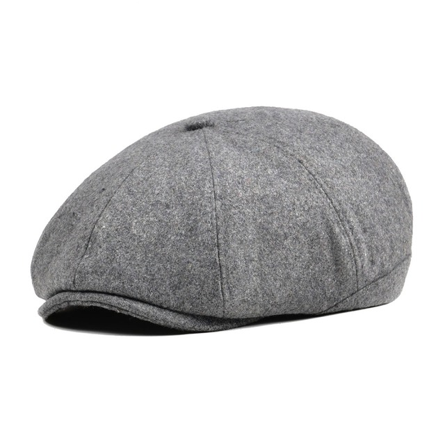 5d473a1ff7 US $9.87 48% OFF|Woven Tweed Wool Light Grey Newsboy Cap Men Beret Women 8  Panel Country Baker Boy Hats Caps Flat Hats Retro Gatsby Boina 111-in ...