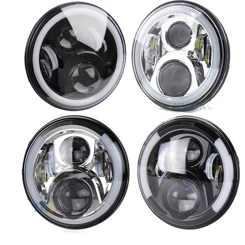 7 Inch Round Motorcycle Headlights with/without Halo Angle Eyes 60W for CB 400 VTR Universal Motorcycles Replacement