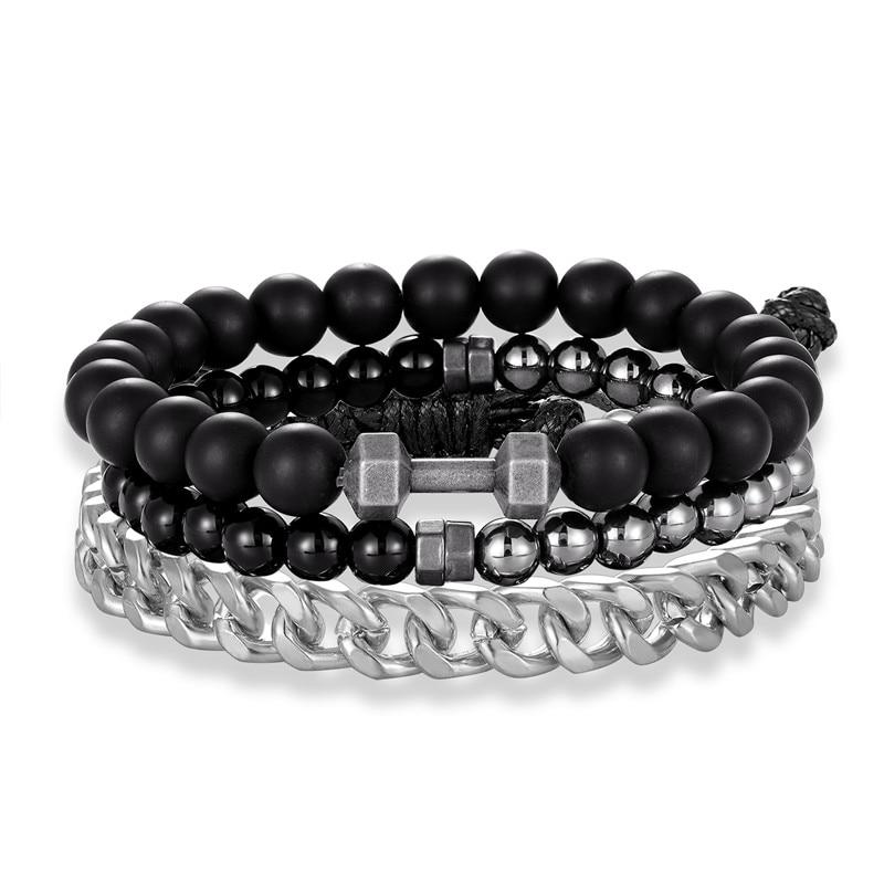 Men Trendy Hematite Beaded Metal Chain Bracelet