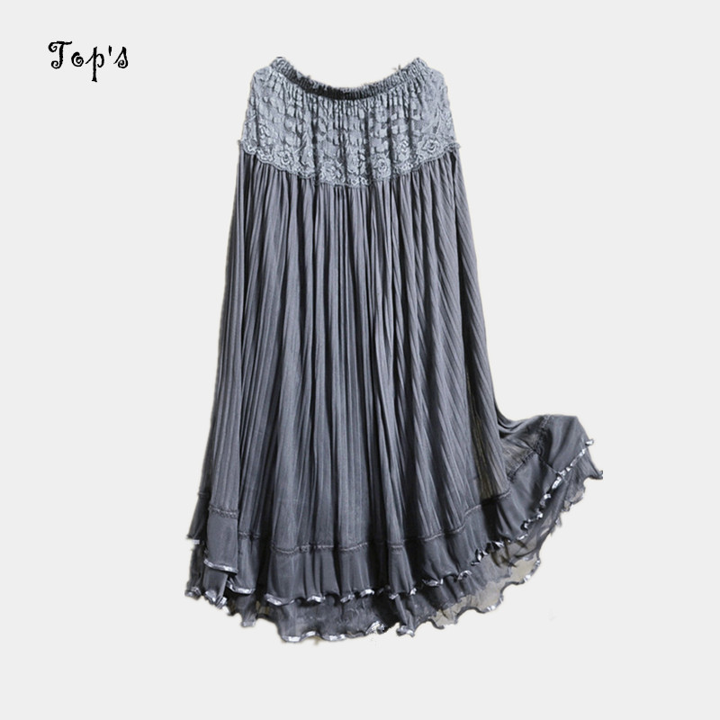 Hot 2016 Summer Long Design Lace Skirt Tulle Skirts Gauze Expansion Skirt Elegant Beach Women Maxi Skirts Saia
