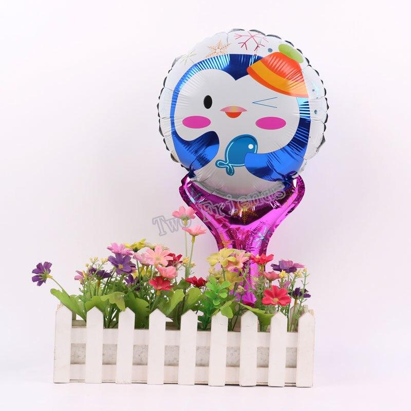 50pcs penguin/Sally/teddy bear/balloon Sticks Ballons for baby kid toys party supplies baby shower cheer stick foil ballon
