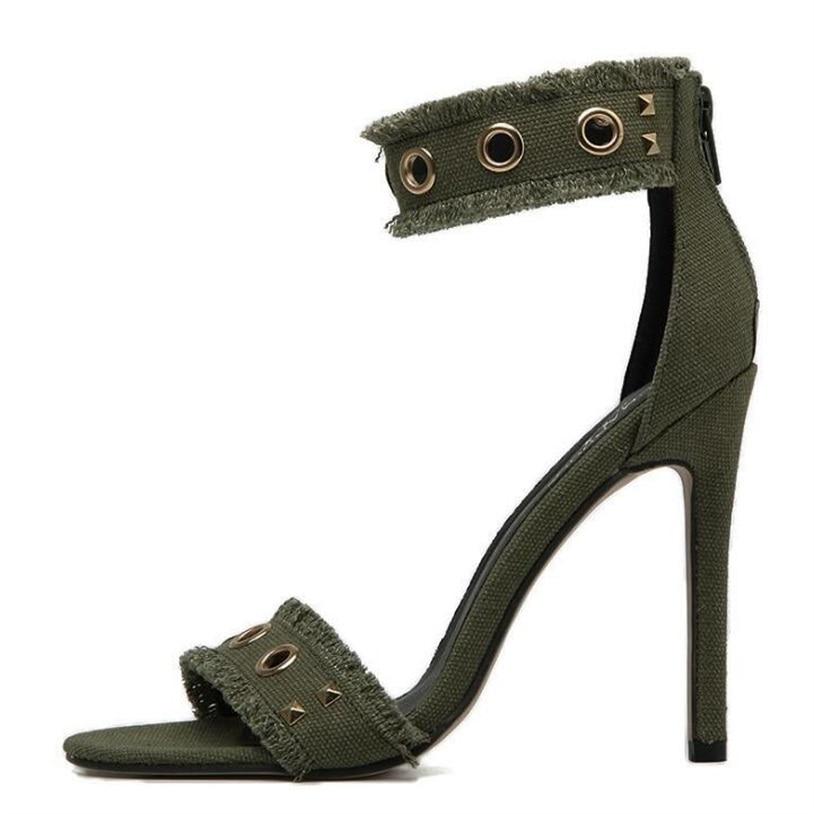 MoBeiNi fashion Women Party Sandals 2017 Summer Brand Rivets Ankle Strap Women's Shoes tassel Denim High Heels Sandalias Green hot women party sandals 2016 summer brand elegant high heels sandalias women s dress shoes sandal sjl342
