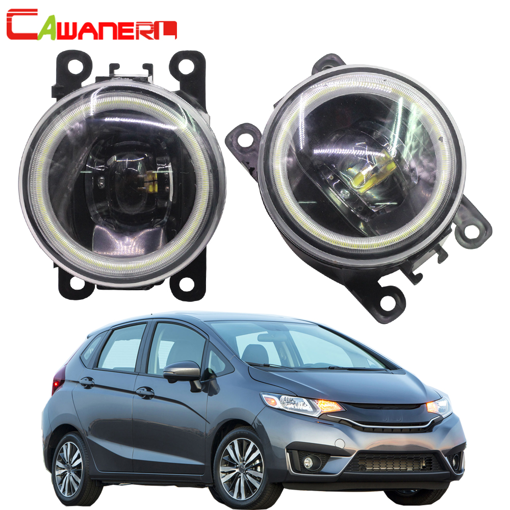 Cawanerl 2 X Car Styling H11 LED Lamp 4000LM Fog Light Angel Eye DRL Daytime Running
