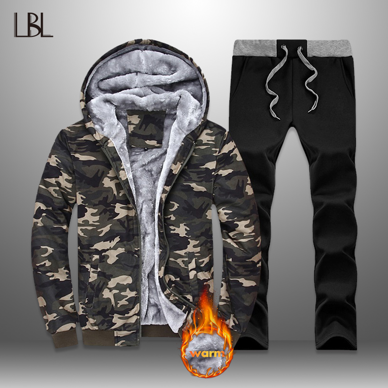 LBL Camouflage Tracksuit Set Men Winter Streetwear Fleece Thick Hoodies Set Warm Jacket + Pants Mens 2 Piece Tracksuits Outwear