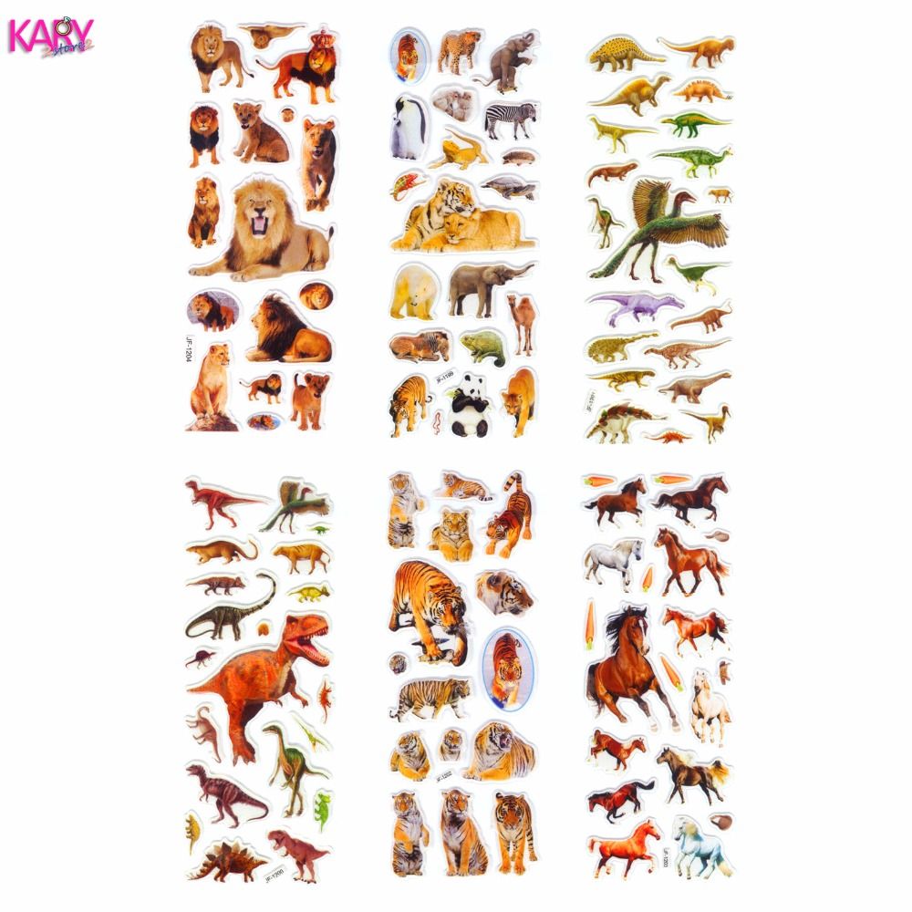 6 Sheets Wildlife Wild Animals Tiger Lion Scrapbooking Kawaii Emoji Reward Kids Toys Bubble Puffy Stickers Factory Direct Sales