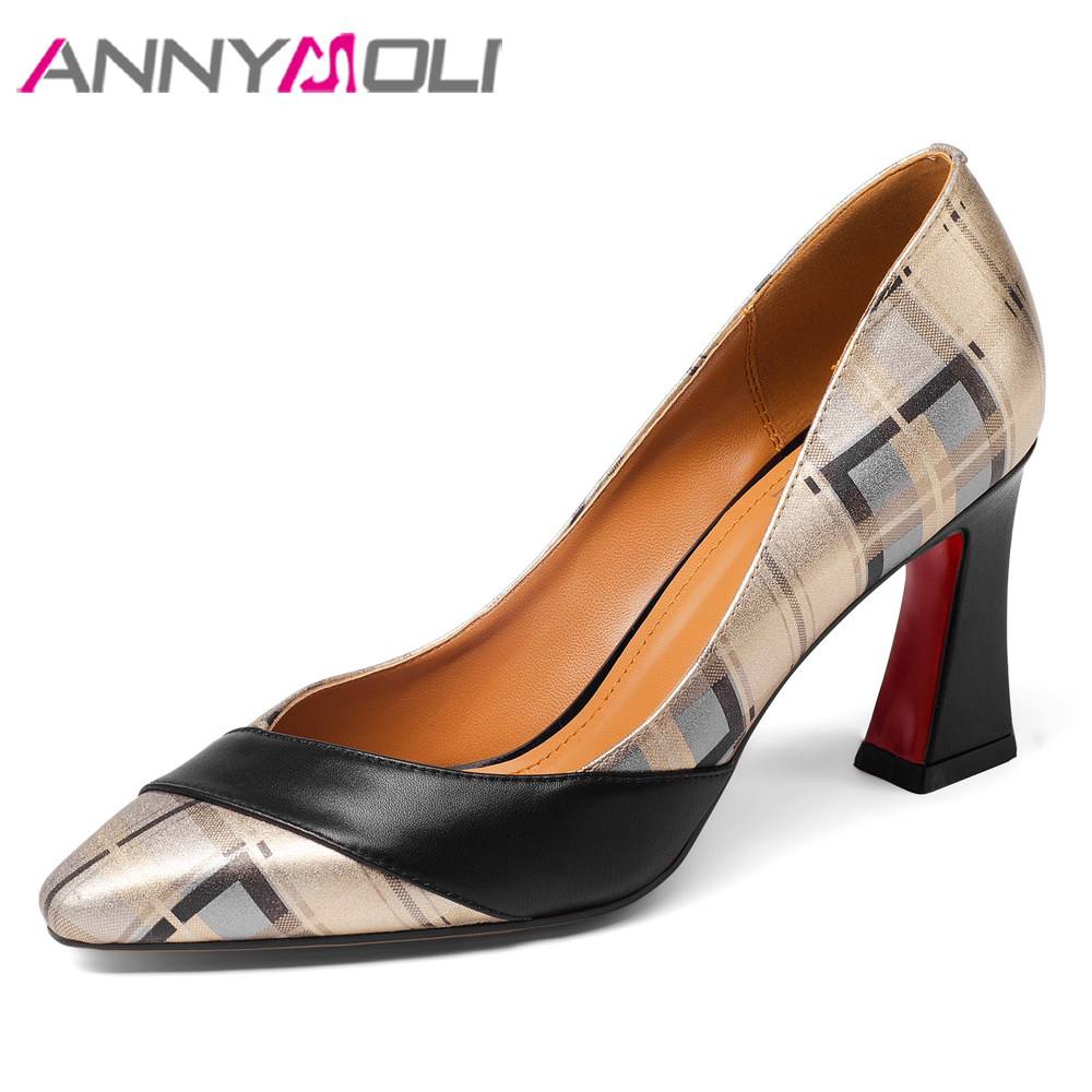 ANNYMOLI High Heels Women Pumps Natural Genuine Leather Square Heels Shoes Real Leather Pointed Toe Shoes