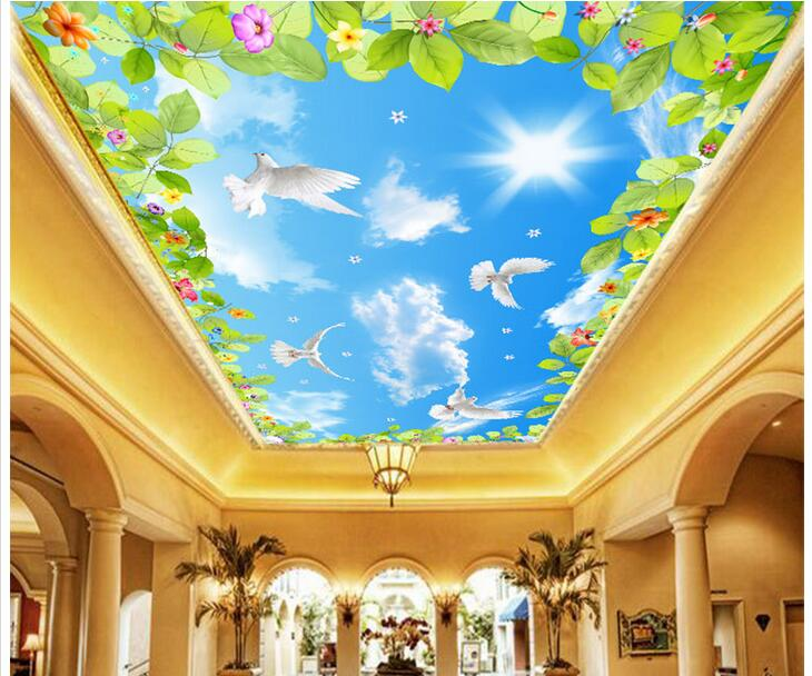 3d wallpaper custom photo non-woven mural Green leaves and flower dove 3d wall murals wallpaper ceiling room decoration painting ceiling non woven wallpapr home decoration wallpapers for living room 3d mural wallpaper ceiling customize size