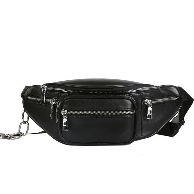 Fashion Women Waist Bag Casual PU Leather Chain Belt Banana Bag Girls Chest Bag Travel Fanny Pack Shoulder Bag Black Phone Pouch