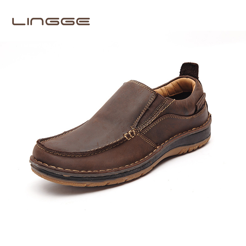 LINGGE New Brand Genuine Leather Men Loafers Fashion Handmade Moccasins Casual Leather Shoes Men s Flats