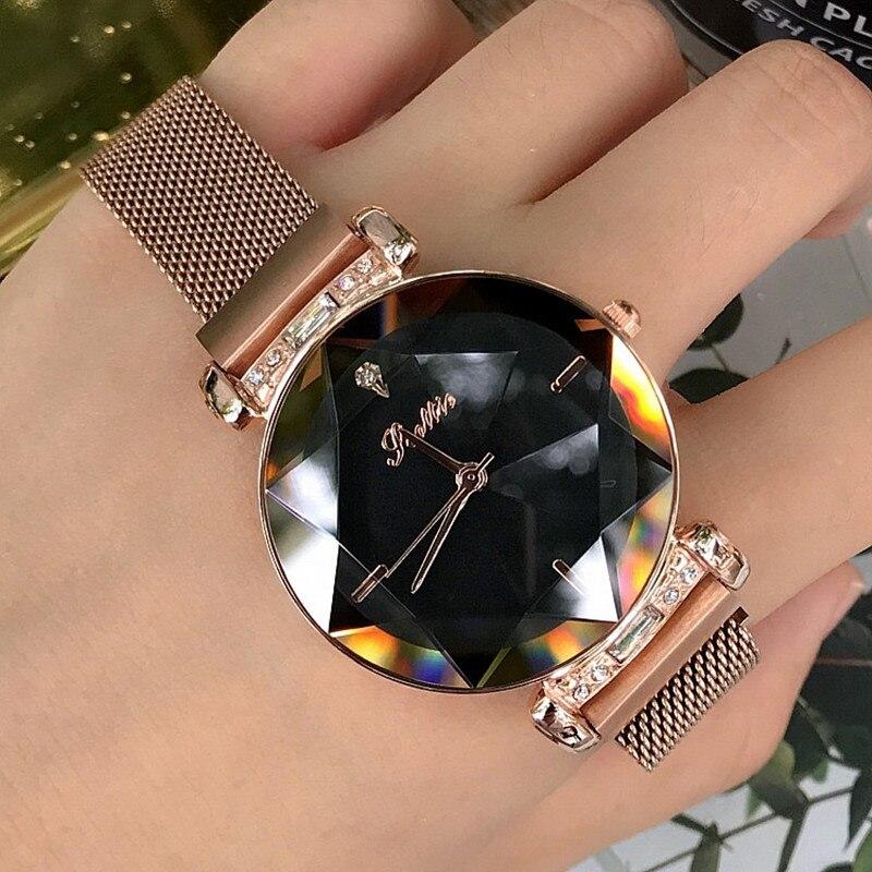 Роскошные женские часы для женщин магнит пряжки платье часы для женщин 2018 Новый Нержавеющая сталь кварцевые часы для женщин horloges vrouwen