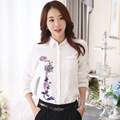 Blusas 2016 Spring Autumn long-sleeve white chiffon shirt printing fresh white large size casual shirt women clothes wholesale