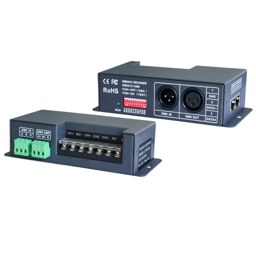 цена на New LTECH LT-830-8A DMX-PWM CV DMX512 decoder;DC5-24V input;8A*3CH output 24A Max RGB Strip Decoder