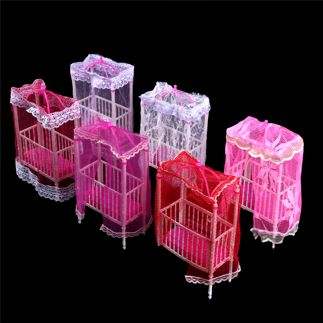 Miniature Plastic Cot Bed with Net For Doll House