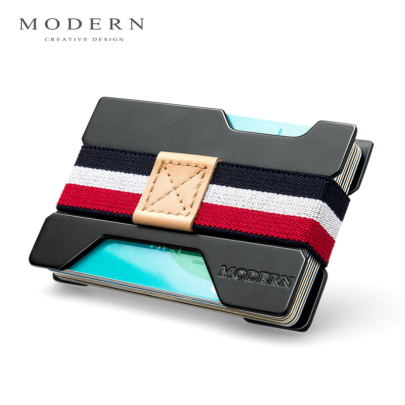 Modern- Antitheft Rfid Blocking Slim Minimalist Wallet Card Holder Card Case Money Clamp Men Travel Wallet for Credit Card