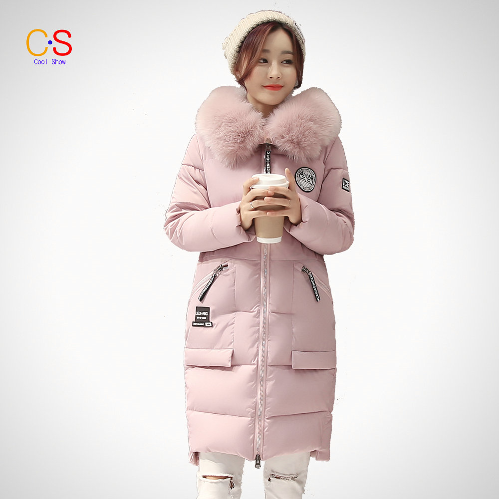 ФОТО  Winter Women Coat with Large Fur Collar Ladies Qualited Jacket Female Hooded down parkas Outfits Size