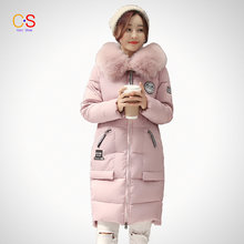 2016 Winter New Fashion Women Coat with Large Fur Collar Ladies Qualited Jacket Female Hooded down parkas Outfits Plus Size