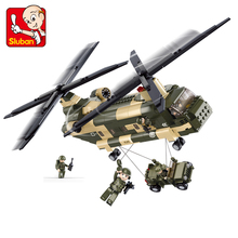 Sluban B0508 Building Blocks Transport Helicopter Aircraft Compatible Military War Soldiers Education Gifts Children Boy Toys