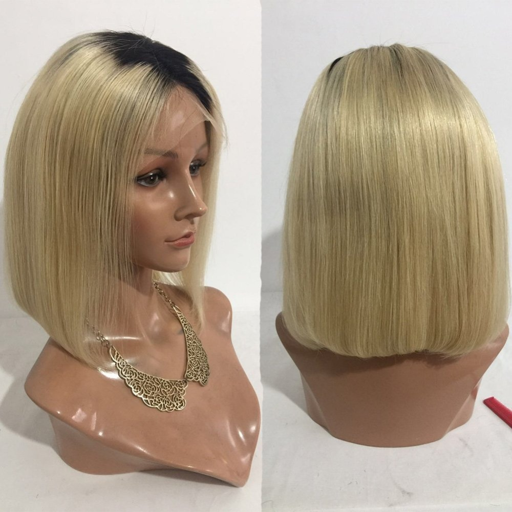 Honey Eversilky 150% Density Short Human Hair Bob Wigs For Women Ombre 1b/613 Blonde Wig Remy Brazilian Lace Front Human Hair Wigs