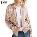 Mulheres flor bordada bomber jaqueta básica 2016 primavera/outono moda Splice casual zipper baseball outwear senhora chaquetas mujer