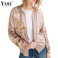 Women flower embroidered bomber basic jacket 2016 spring/fall fashion Splice casual zipper baseball outwear lady chaquetas mujer