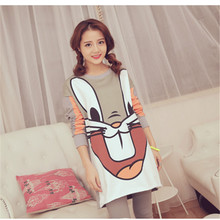 New Hot 2016 Spring Scale fabric rabbit Female pajamas lengthy sleeve Cartoon Lovely pyjamas for ladies Home wearTracksuit units