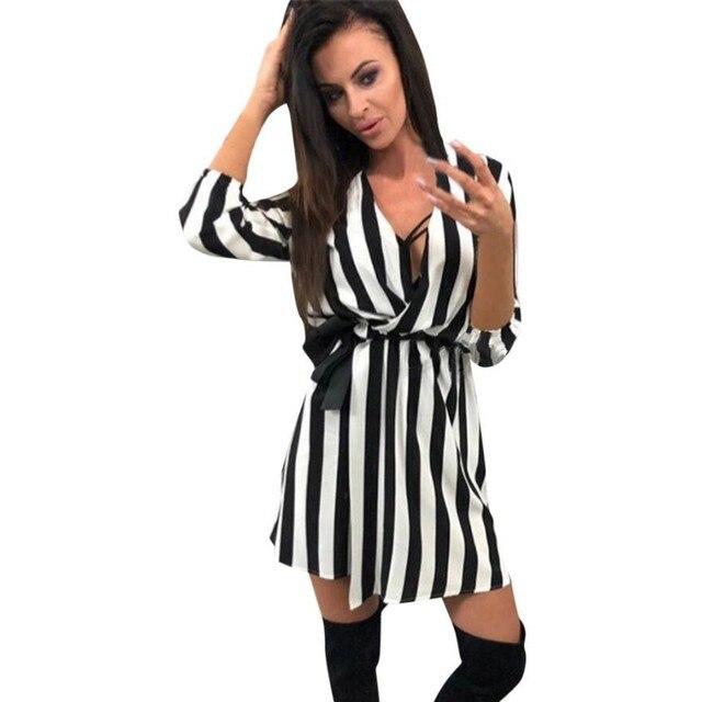 bbf5ab6dd133 Summer Women V Neck Striped Dress Black White Striped Loose Beach Casual  Dresses Vestido Casual