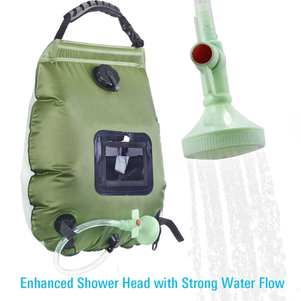 Solar Shower Bag 20L Solar Heating Camping Shower Bag Hot Water 45 Degree Removable Hose Switchable Shower Head