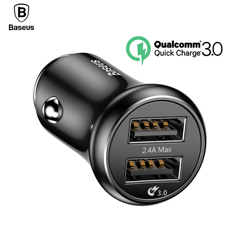 Baseus carga rápida 3,0 cargador de coche USB QC QC3.0 rápido Turbo de carga de coche Dual USB cargador para iPhone X Xs xiaomi mi teléfono móvil