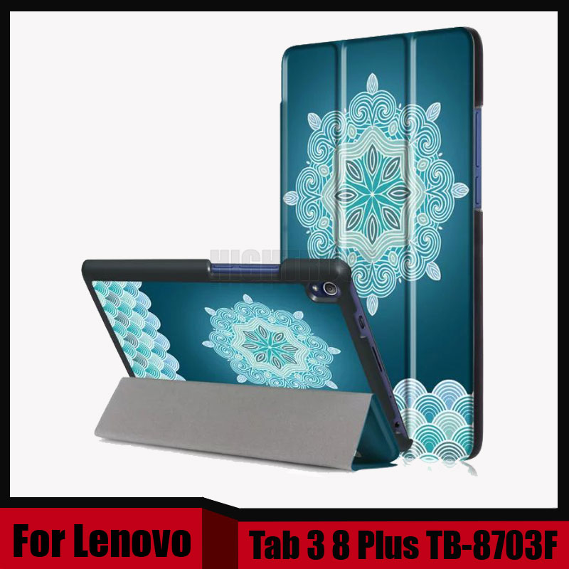 Print PU Leather Case for Lenovo Tab 3 8 Plus 8inch Tablet Stand Protective Cover for Lenovo P8 TB-8703F TB-8703X + Screen film 3 in 1 new ultra thin smart pu leather case cover for 2015 lenovo yoga tab 3 850f 8 0 tablet pc stylus screen film