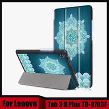Impresión de cuero de la pu case para lenovo tab 3 8 plus 8 pulgadas tablet soporte de la cubierta protectora para lenovo p8 tb-8703f tb-8703x + pantalla película