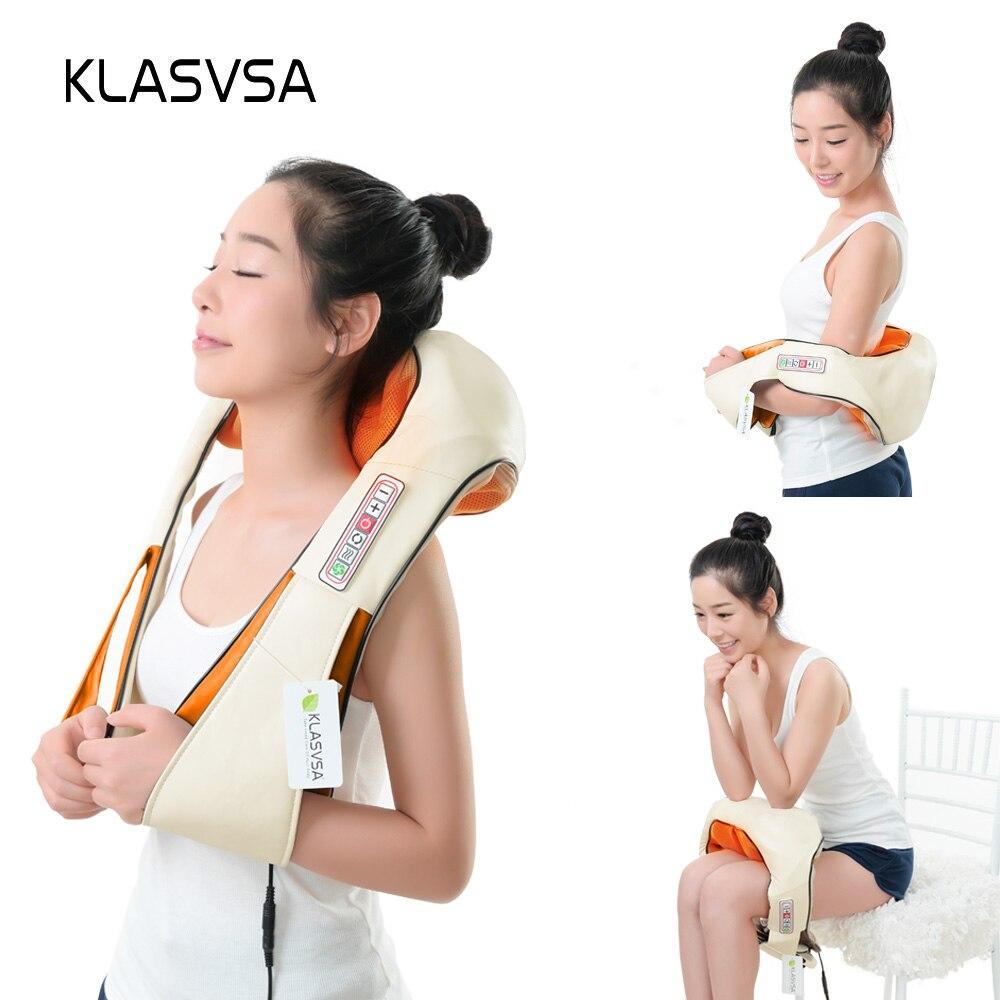KLASVSA calefacción eléctrica masajeador de cuello cabo Shiatsu coche infrarrojos KneadingTherapy dolor de hombro, masajeador relajarse - 4