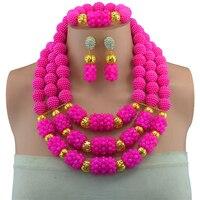 2017 Fashion Women Rose Shiny 6mm Mutlicolors Crystal Bead Jewelry Set Nigeria Wedding African Beads Jewellery Sets