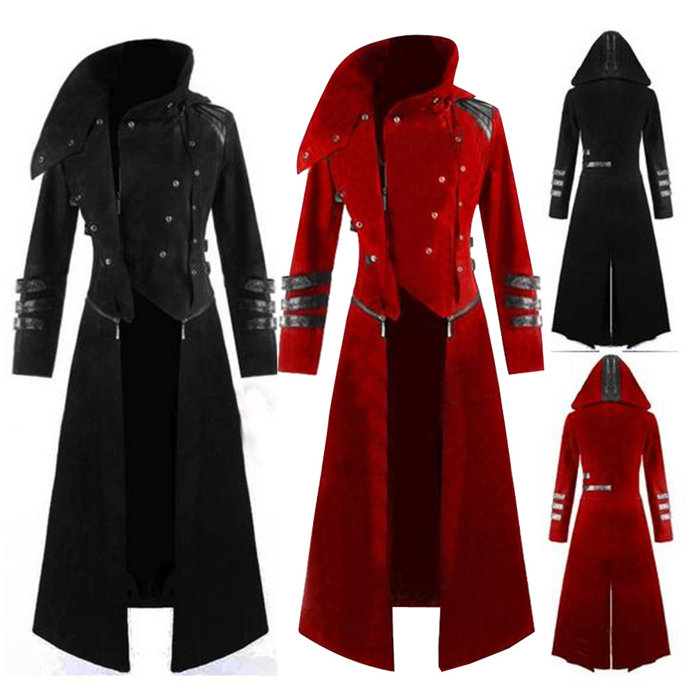 New Multi Colors Mens Gothic Steampunk Hooded Trench Party Costume Tailcoat Long Sleeve Jacket Retro Coat Jacket