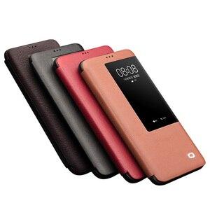 Image 5 - QIALINO Luxus Echtem Leder Flip Fall für Huawei Mate 20 Pro Stilvolle Handgemachte Ultra Slim Smart View Telefon Abdeckung für mate 20/X