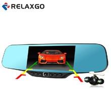 """Relaxgo 4.3 """"Car видеокамера Full HD 1080 P зеркалом заднего вида камера ночного видения Автомобильный видеорегистратор с двумя объективами парковка Зеркало DVR видеорегистратор"""