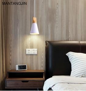 Image 3 - Pendelleuchten Esszimmer Pendelleuchten Moderne Bunte Restaurant Kaffee Schlafzimmer Beleuchtung Eisen + Massivholz E27 Halter