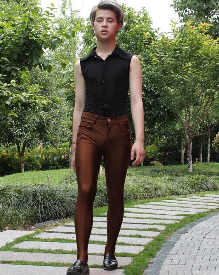 Men-Sexy-Charm-Pants-Elastic-Tight-Trousers-Jeans-Silky-with-Socks-Stockings-Casual (4)