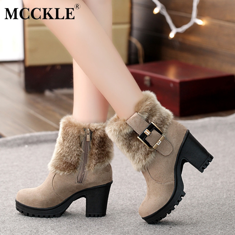 MCCKLE Women Casual Platform Block High Heels Winter Warm Faux Fur Snow Boots Female Suede Buckle Short Ankle Boots Shoes trendy color block and faux fur design women s snow boots