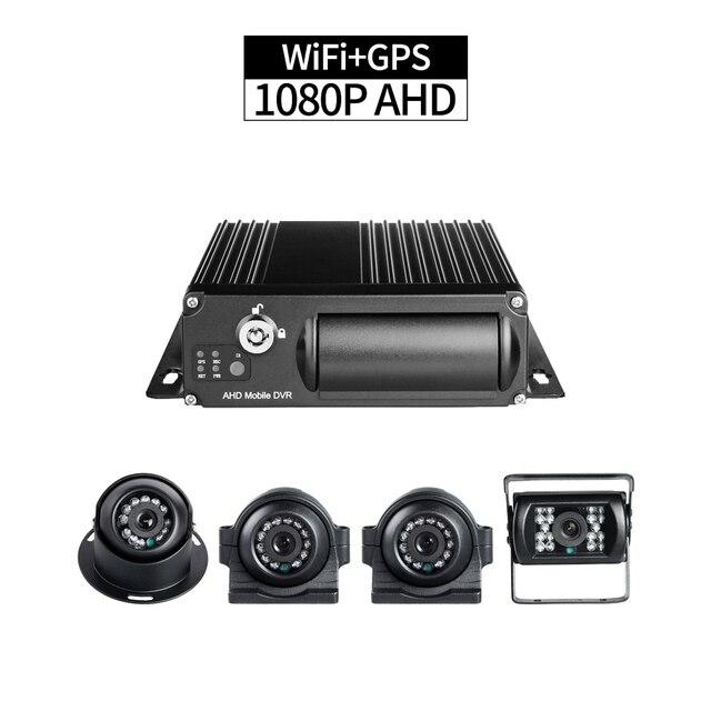 Camion DVR sécurité WiFi GPS 4 ch 1080P   Boucle vidéo 256G de double SD, moniteur à distance iPhone/Android, positionnement GPS, pour véhicule Bus Taxi