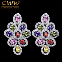 8 Colors Option White Gold Plated Luxury Cubic Zirconia Women Long Big Colorful Earring With Green