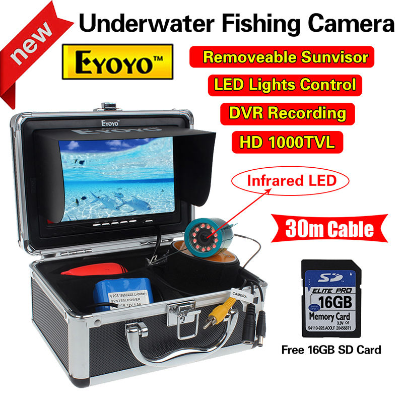 Livraison gratuite! EYOYO CR110-7LDVR30M 30 m 7 LCD Sous-Marine Vidéo DVR Caméra IR 16 GB Poissons Finder Nuit Vision Mer