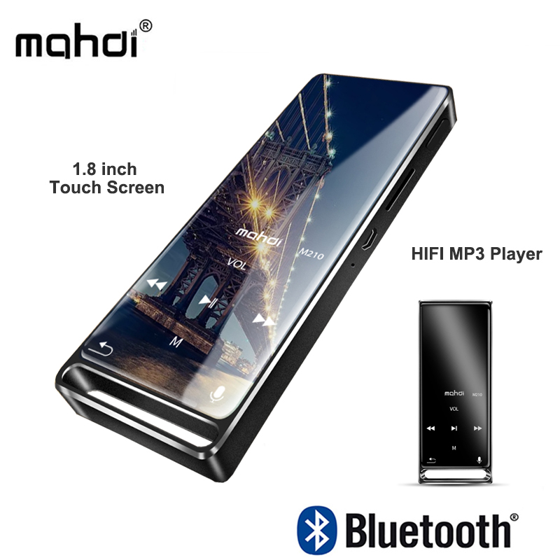 mahdi M210 <font><b>Mp3</b></font> <font><b>Player</b></font> Bluetooth Touch Screen 1.8 inch Portable Sports USB <font><b>HD</b></font> HIFI Music <font><b>Player</b></font> 16GB Support TF Card Ultra-thin image