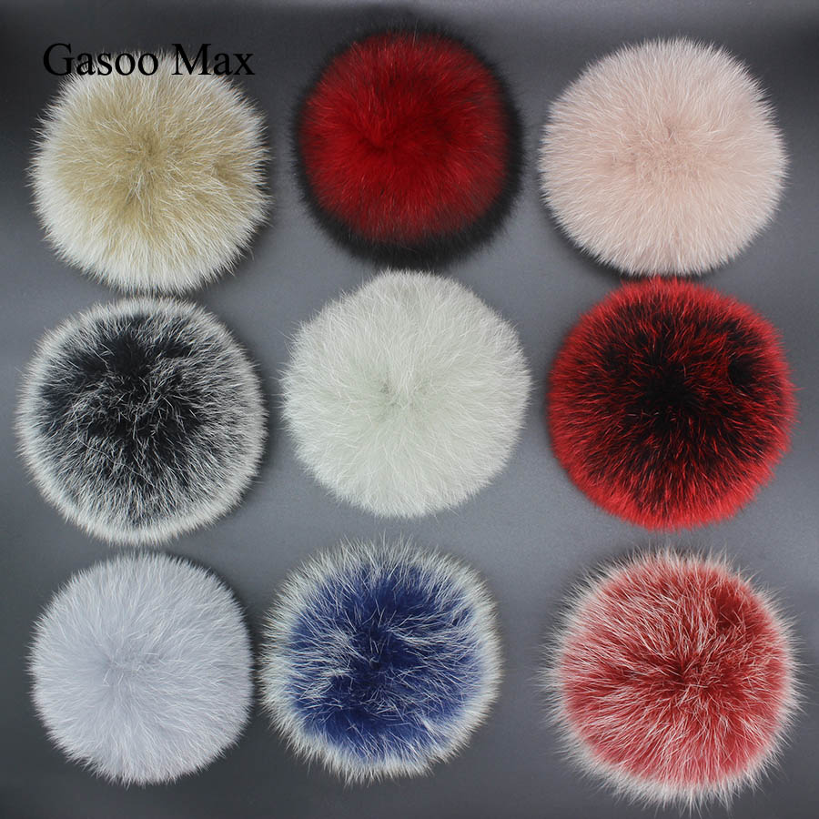 DIY 14cm Big Fox Fur Pompoms Fluffy Fur Balls For Knitted Hat Cap Winter Beanies Keychain And Scarves  Real Fur Pom Poms