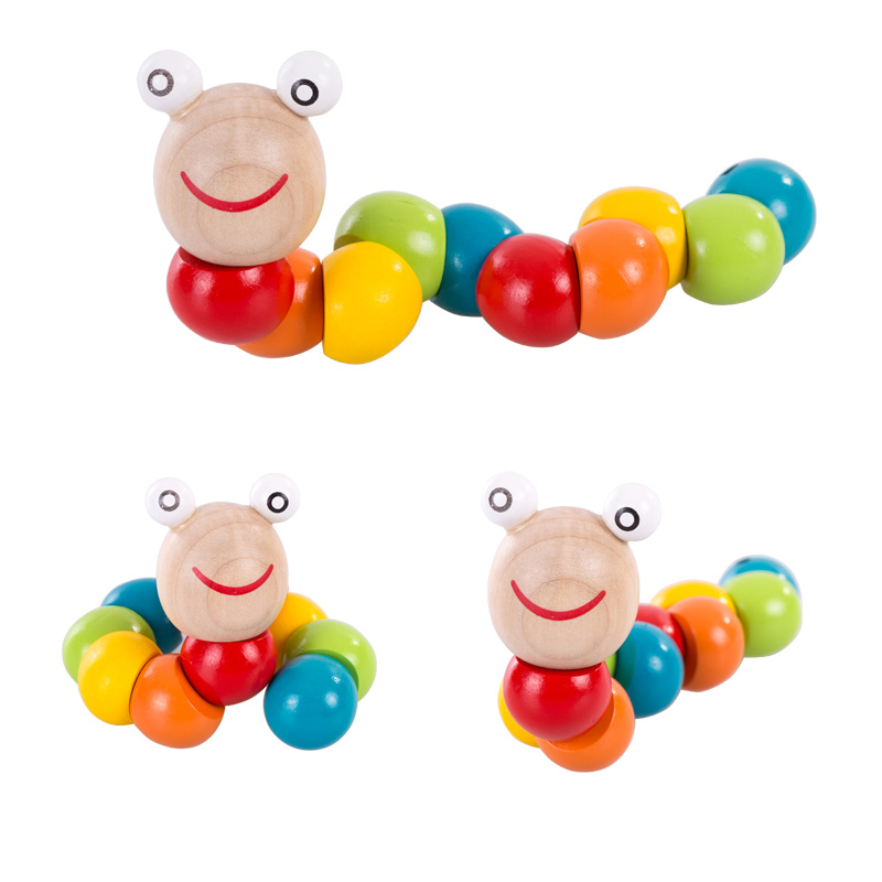 Kids Wooden Caterpillar Education Toy Children Twisting Educational Animal Toy For Toddler Phoohi Fhr6019-3 Biology