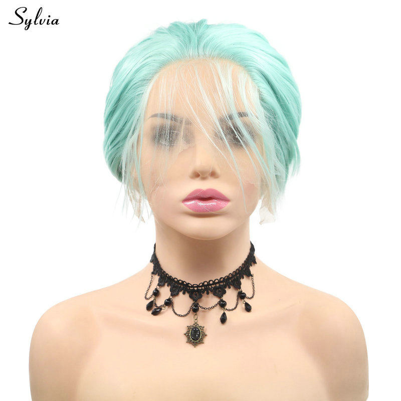 Sylvia Summer Blue Short Bob Synthetic Wig With Baby Hair Heat Resistant Handmade Lace Frontal Wigs Pastel Cool Color Hair Women